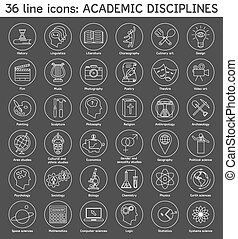 Set of academic disciplines icons