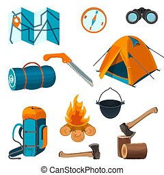 Set of accessories for camping rest and hiking activities isolated