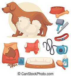 Set of accessories for dogs.