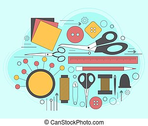 Set of accessories for sewing and handmade paper card with dressmaking accessories. Line art. Vector