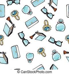 Set of Accessories. Purse. Ring. Eyeshadows. Brush