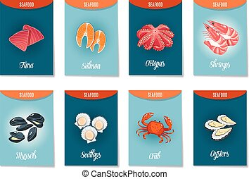 Set of AD-cards (banners, tags, package) with cartoon sea food - tuna, salmon, octopus, shrimps, mussels, scallops,crab and oysters. Vector illustration, isolated on white, eps 10.