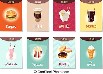 Set of AD-cards (banners, tags, package) with cartoon fast food - hamburger, coffee, wok box, soda, milk shake, popcorn, donuts and ice cream. Vector illustration, isolated on white, eps 10.