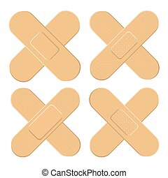 Set of Adhesive, flexible, fabric plaster . Medical bandage in different shape - straigh cross. Vector illustration isolated on white background.