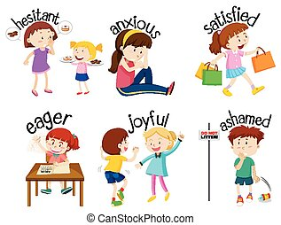 Set of adjective words with children expressing their feelings illustration