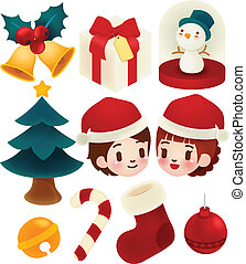 Set of adorable christmas icons