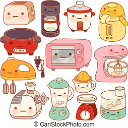 Set of adorable kitchen appliances , cute kettle , lovely...