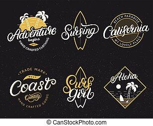 Set of Adventure, California, Surfgirl, Surfing, Aloha hand written lettering prints.