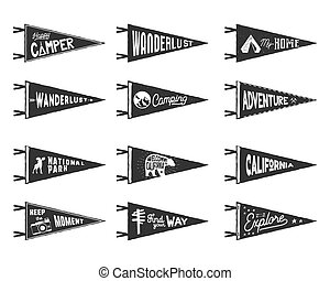 Set of adventure, surfing, camping pennants. Retro monochrome labels. Vintage hand drawn wanderlust style. Isolated on white background. Good for t shirt, mug, other identity. Vector illustration