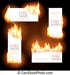 Set of advertisement banners with spurts flame