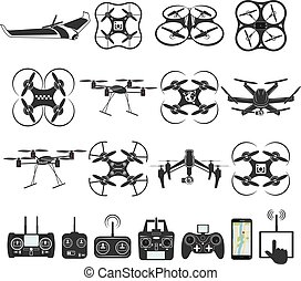 drone footage emblems - Set of aerial drone footage emblems....