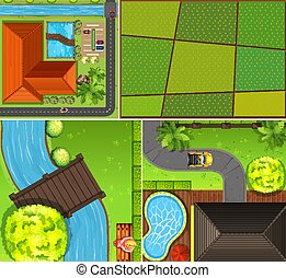 Set of aerial farm and river scene