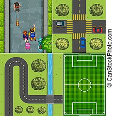 Set of aerial football court and road scene