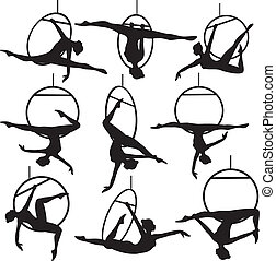 aerial hoop acrobat - Set of aerial hoop acrobat woman ...