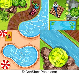 Set of aerial pool and river scene