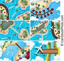Set of aerial view scenes