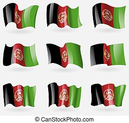 Set of Afghanistan flags in the air. Vector