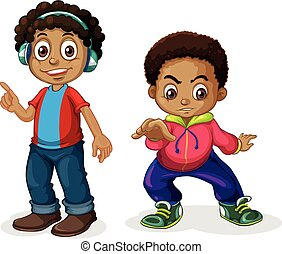 Set of africa boy character