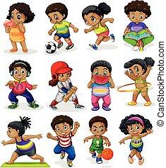 Set of african american kids