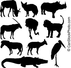 Set of African animals. Black silhouette on white background. vector