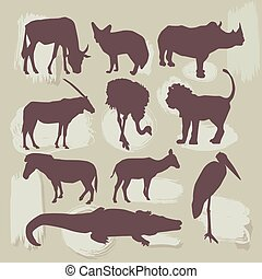 Set of African animals. Silhouette. vector