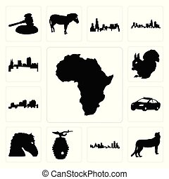 Set of african continent outline on white background, cheetah michigan state beehive background icons
