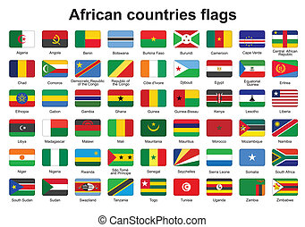 African countries flag buttons