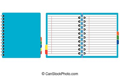 Set of agenda. Open and closed. Scratched book or notebook for making notes