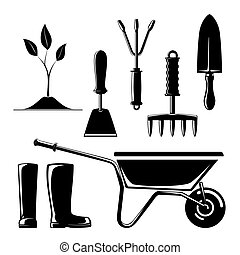 Silhouette of Garden and Landscaping Tools - Set of...