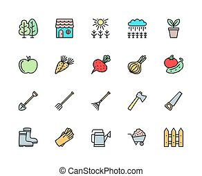 Set of Agriculture Color Line Icons. Fence, Field, Rake, Axe, Pitchfork and more