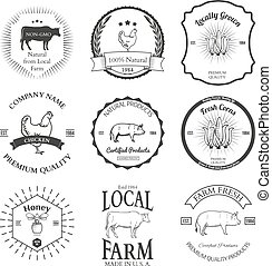 Set of agriculture vector label design elements