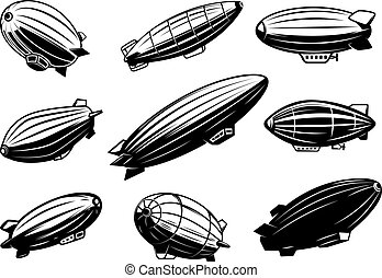 Set of air balloons, zeppelin. Design element for poster, ...