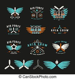 Set of air force and air show emblem and icons. Color print...