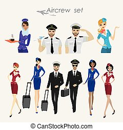 Set Of Aircraft Crew ,stewards and pilots in working form Isolated On White