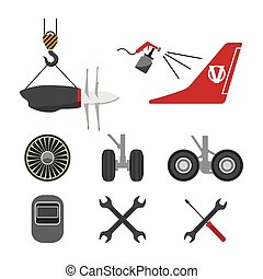 Set of aircraft parts on white background