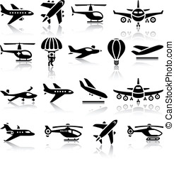 Set of aircrafts black icons