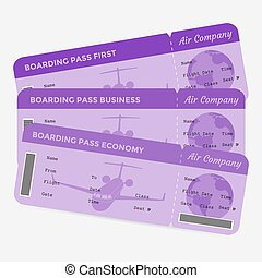 Set of airline boarding pass. Purple tickets isolated on white background