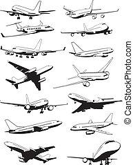 airplane contours - set of airplane contours