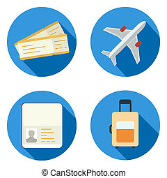 Set of airplane icons in flat design style