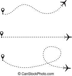 Set of airplane line path. Vector illustration