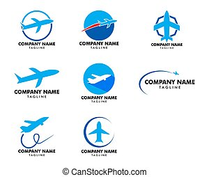 Set of Airplane Logo Template Design Vector