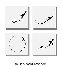 set of airplane take-off and flying designs - vector icons....