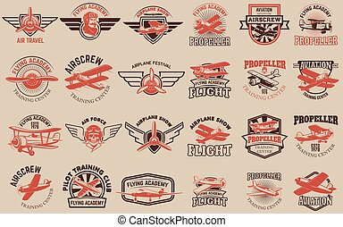 Set of airplane training center emblems. Design elements for log