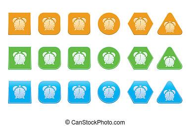 set of alarm clock icons