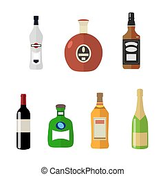 Set of alcohol bottles in a flat style isolated on white background. Cognac whiskey champagne. Vector, illustration EPS10.