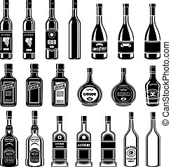 Set of alcohol bottles.Vector illustration