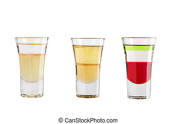 Set of alcohol shots on a white background. Three shots of interesting different.