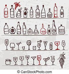 Set of alcohol's bottles and wineglasses on grunge background
