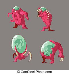 Set of alien mutant monsters - Collection of colorful vector...