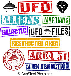 Set of aliens and UFO grunge rubber stamps on white, vector illustration